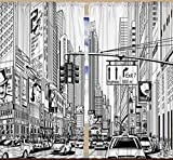 Americana Cityscape Decor Times Square Manhattan New York City Broadway Traffic Signs Curtains for Bedroom Living Dining Room Drapes 2 Panels Set 108 X 84 Inch Window Treatment, Black White