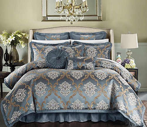 - Perfect Home 9 Piece Angelo Decorator Upholstery Quality Jacquard Scroll Fabric Complete Master Bedroom Comforter Set and pillows Ensemble, King, Blue