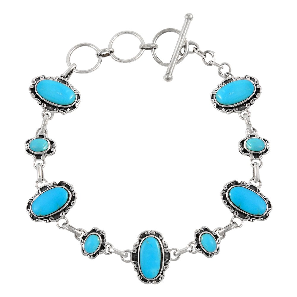 Turquoise Link Bracelet Sterling Silver 925 Genuine Turquoise (SELECT from (Artisan)