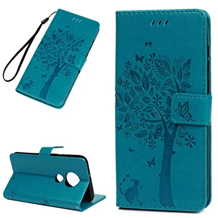 Amazon.com: Moto G7 Plus Case, Floral Tree Cute Cat Wallet ...