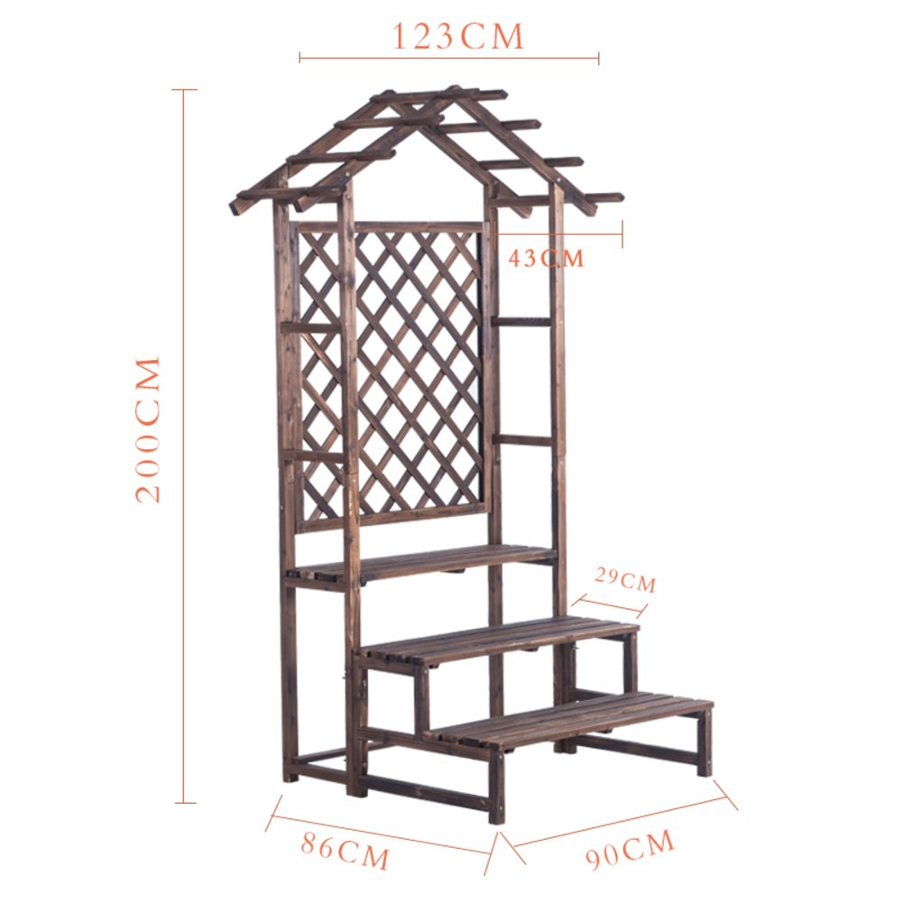 Wooden balcony/solid wood hanging type multilayer showy/indoor living room hanging antiseptic wooden flowerpot frame/-B by PYEVZCADQF
