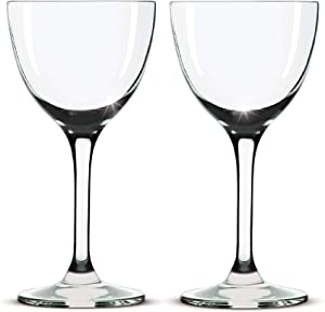 Nick and Nora Coupe Cocktail Glasses - Handblown Set of 2, Small Plain Vintage Coupe Glass to Serve a Manhattan, Martini, Aperitif, Algonquin, or Port Wine, 5-ounce (Plain, 2)