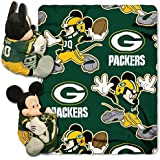 2 Piece NFL Packers Throw Blanket Full Set With Disney Mickey Mouse Character Shaped Pillow, Sports
