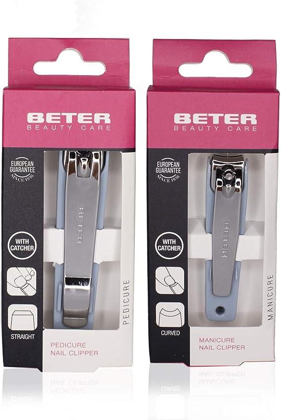 Beter Cortaúñas con Depósito para Manicura y Pedicura de Color Azul - 1 pack: Amazon.es: Belleza
