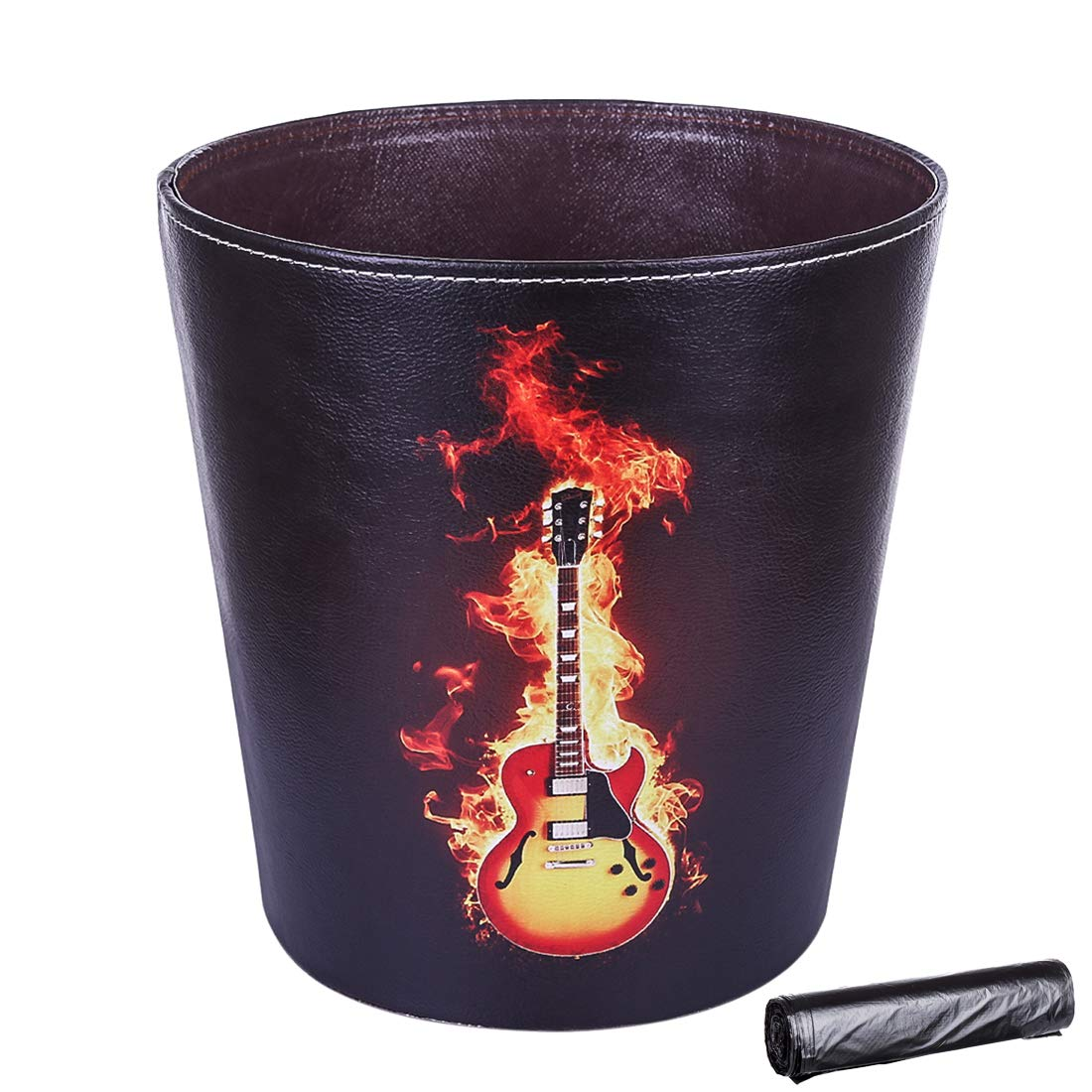 Guitar RuiyiF Deskside Waste Basket with 30PCS Trash Bags Farmhouse Trash Can for Kids Bedroom Bathroom Garbage Can Without Lid Decorative Waste Bin Kitchen Recycling Bin