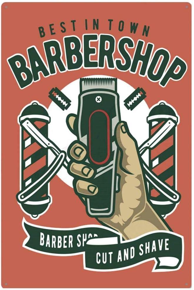 Arte Callejero o Tienda de Pared dise/ño de barber/ía Ideal para decoraci/ón de barber/ía 1 Cartel Retro de Hierro para Pared LEEYYO casa de peluquer/ía