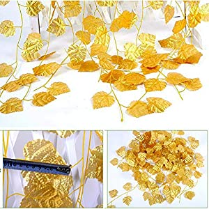 NICE PURCHASE 12pcs 6.5Feet Artificial Leaf Vine Wired Gold Leaf Garland Ivy Silk Greenery for Wedding Home Office Decoration (Grape Leaf) 3