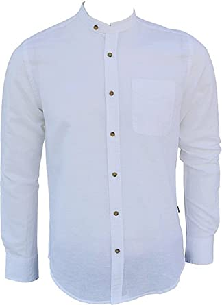 307046b0e087 CARISMA Designer Leinen-Hemd Stehkragen in Weiß Uni CRM8389 Slim FIT  Amazon .de  Bekleidung