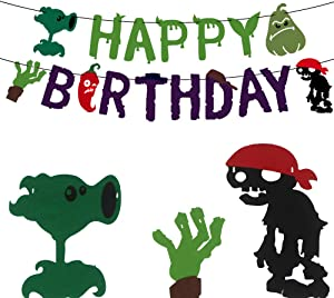TGE-V Plants VS Zombies Birthday Party Banner for Various of PVZ Party Supplies Decorations, Banner Comes Assembled, 1 Pack