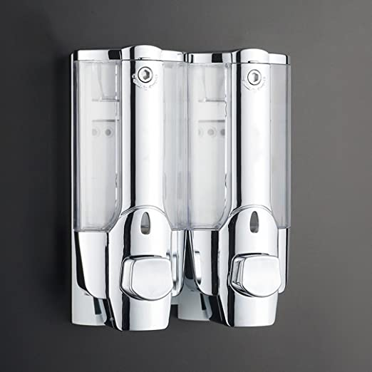 Doble dispensador de cromo para montar en la pared para jab/ón champ/ú gel de ducha acondicionador