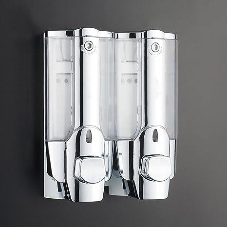 Montado en la pared doble cromo dispensador de jabón líquido clear Champú Acondicionador ducha Geld