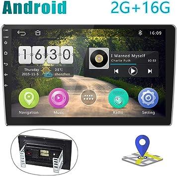 [2G+16G] Radio de Coche Android Pantalla Táctil de 10 Pulgadas Estéreo GPS CAMECHO 2 DIN Bluetooth WiFi Sat Navi FM Enlace de Espejo de Teléfono Móvil ...