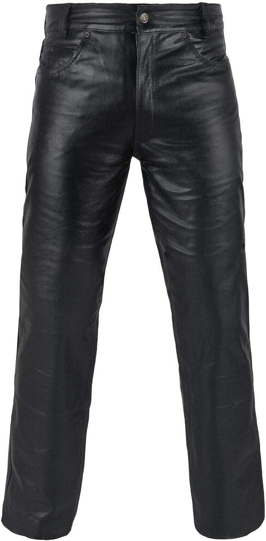 FNine Pantalon de moto en cuir v/éritable pleine fleur