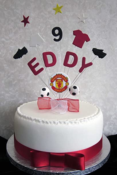 Personalised Manchester United Football Birthday Cake Topper Any