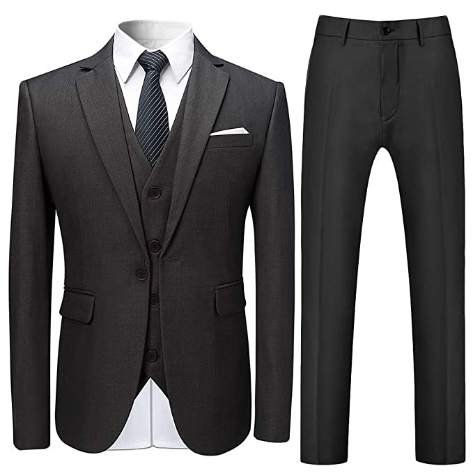 Trajes para Hombre Traje de Esmoquin de Boda Slim Fit de 3 Piezas para Hombres Un botón Traje Formal Chaqueta Blazer Chalecos Pantalones