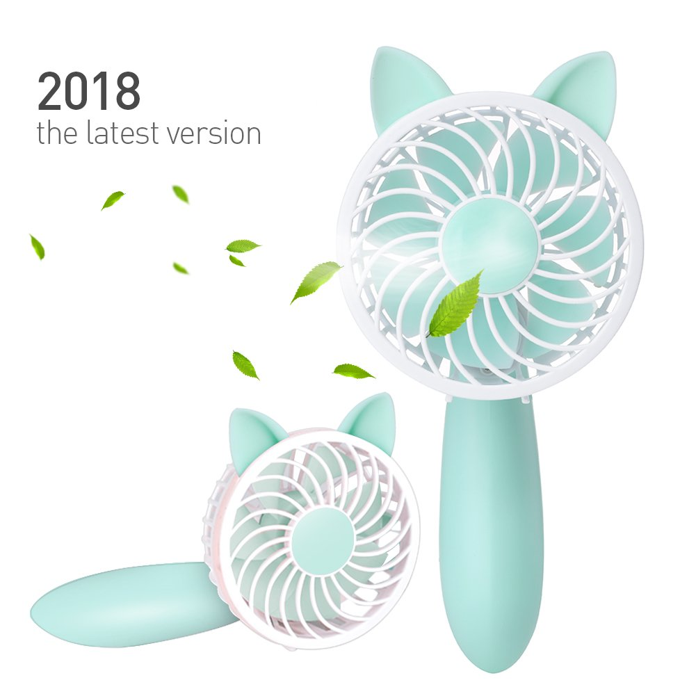 Rechargeable Handheld Fan with 7 Blades and 3 Power Settings Portable for Women Men Kids Light Green