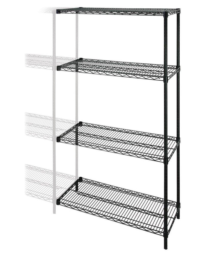 Amazon.com: Lorell Add-On Wire Shelving Unit, 4 Shelves/2 Posts ...