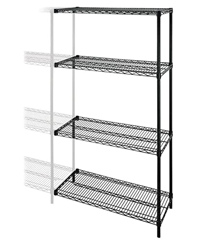 amazon com lorell add on wire shelving unit 4 shelves 2 posts 48 rh amazon com add on shelves for desk add shelves to cabinets