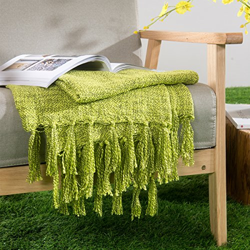 HollyHOME Washable Throw Blanket Lime Green 50x60 Soft Microfiber All Season Blanket for Bed or Couch, Great Gifts Idea (Lime Green Bed Throw)
