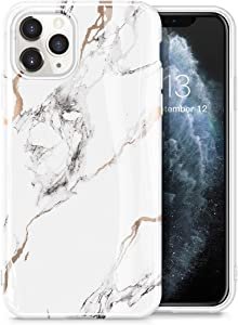 GVIEWIN Marble iPhone 11 Pro Max Case, Slim Thin Glossy Soft TPU Rubber Gel Phone Case Cover Compatible iPhone 11 Pro Max 6.5 Inch 2019 Release (White/Gold)