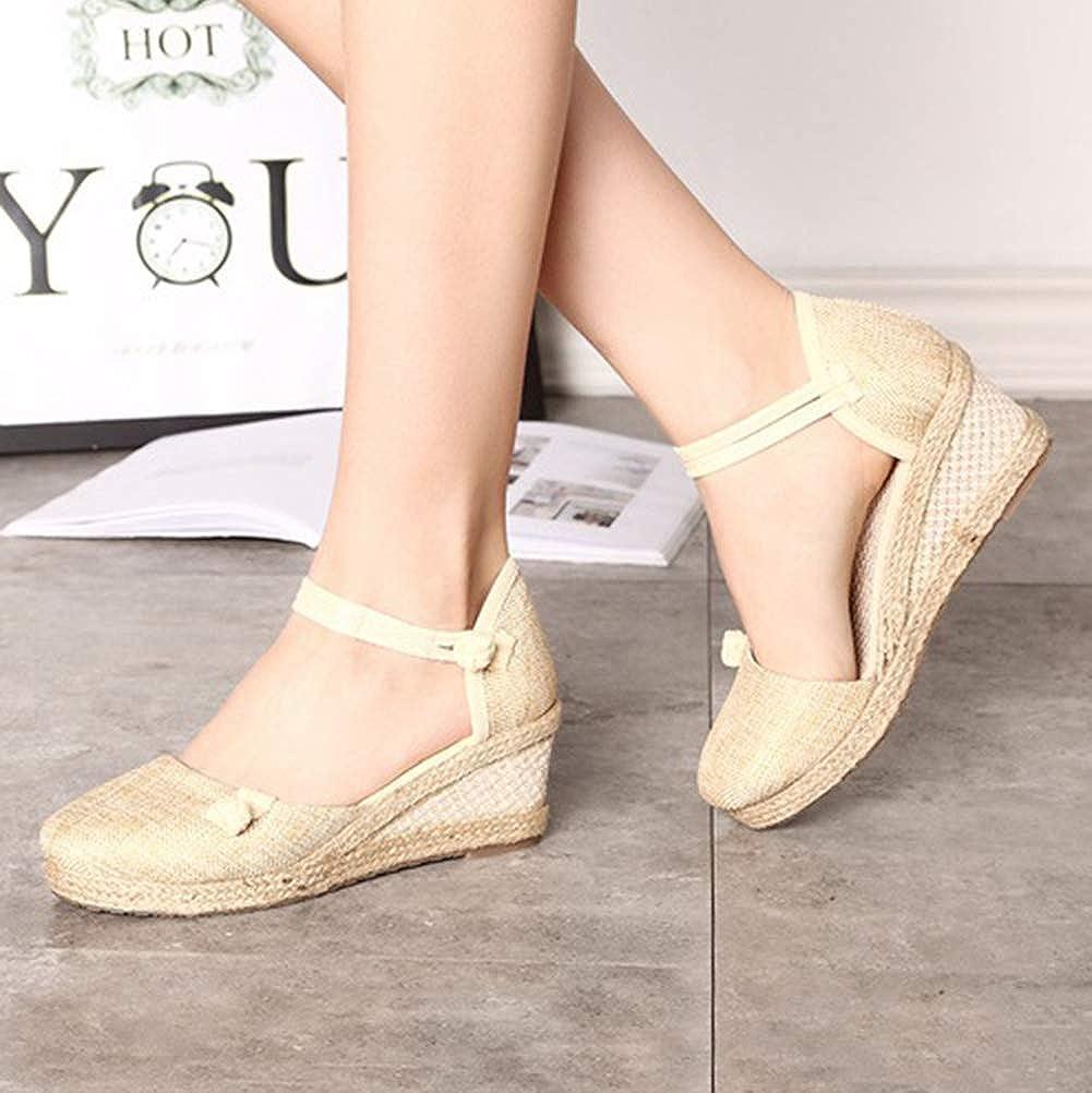Minetom Espadrille Femme Mode Sandales Compens/ées Talon Plateforme Lani/ère Cheville Chic Boucle Sandale Elegantes Talons Hauts Chaussures
