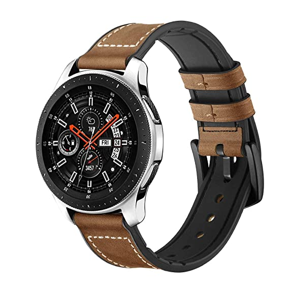 Compatible Samsung Galaxy Watch 46mm/Samsung Gear S3 22mm Leather Watch Band Straps for Gear S3 Frontier/S3 Classic Smartwatch