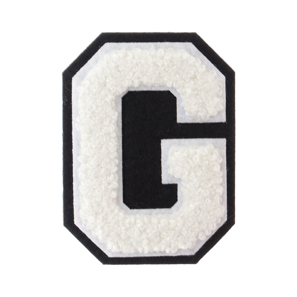 A Red on White 2.5 Inch Heat Seal Chenille Varsity Letter