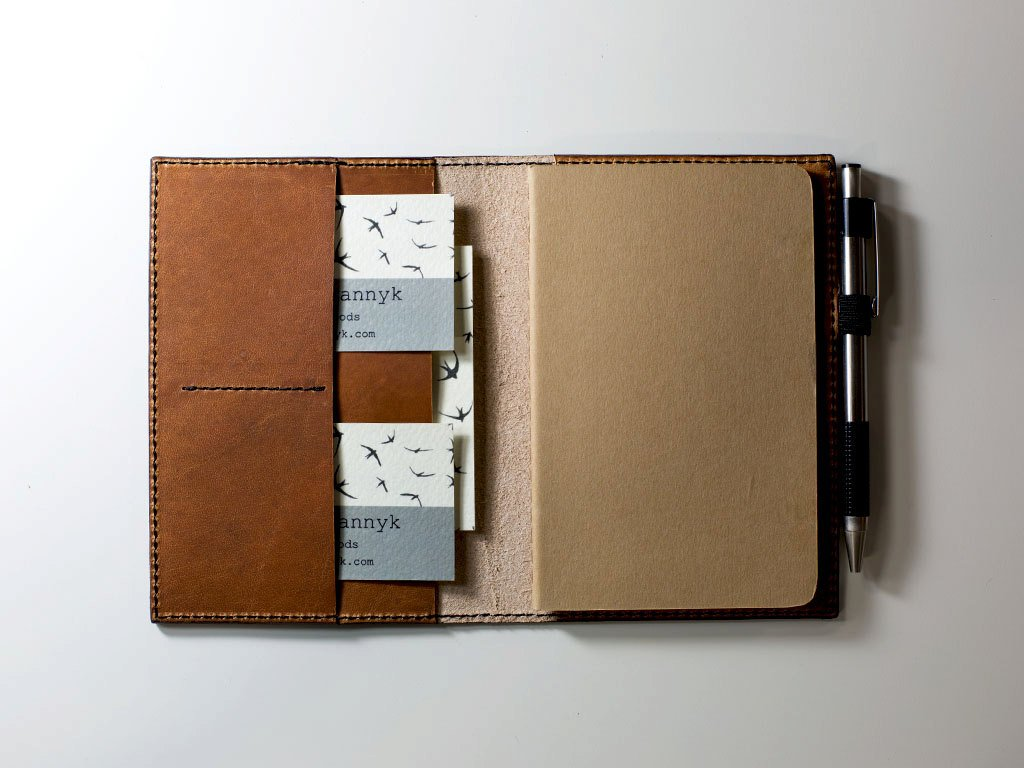 Leather Journal Case with Pockets and Pen Holder with Lined Paper Refillable Leather Cover of Natural Color Full-Grain Horween Dublin Leather Personalized with Initials or Name Different Sizes Field Notes