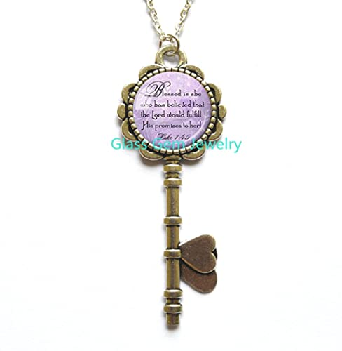 Best Friend Key Necklace God Refuge Strength Birthday Gift Mom Daughter Jewelry Sympathy Scripture