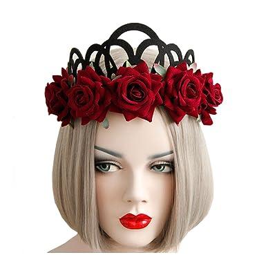 QIYUSHOW Ladies Christmas Accessories Rose Queens Crown Hair Band