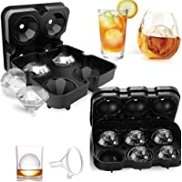 Ice Cube Trays, TERSELY Ice Cube Molds Set of 2, Silicone Ice Ball Maker & Large 3D Diamond Molds with Lids for Whiskey and Cocktails or Homemade (Medium, Dark Black)