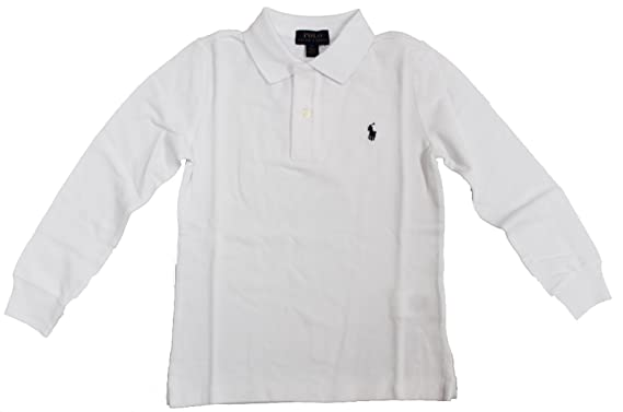 935a642c5a72c Image Unavailable. Image not available for. Color  RALPH LAUREN Little Boy  Cotton Mesh Long Sleeve Polo Shirt Size 5 White