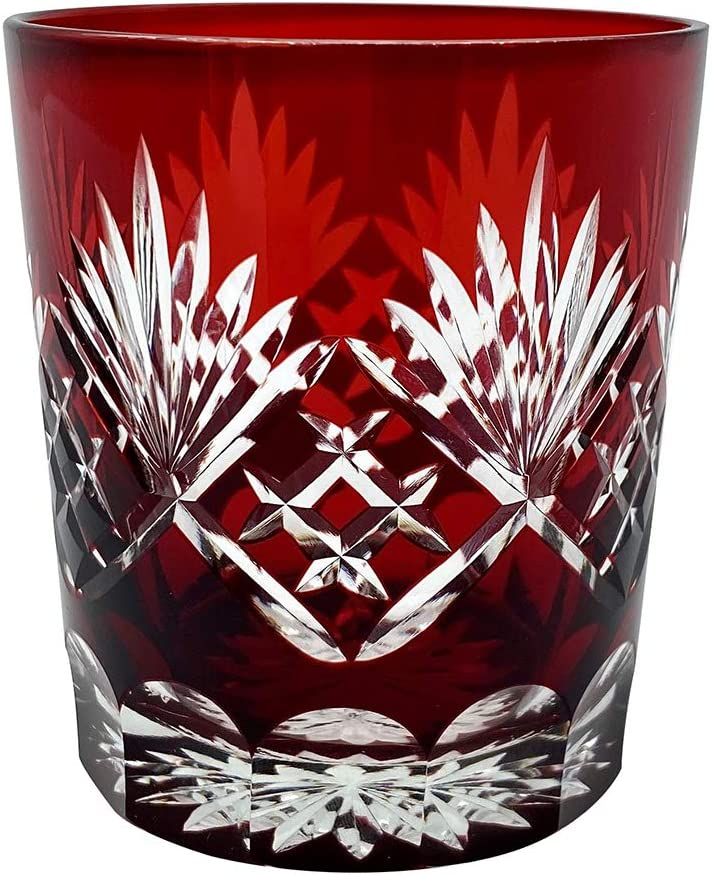 Ruby Red Fancy Hand Cutting Wine Glass, 10 Oz Handmade Old Fashioned Glass