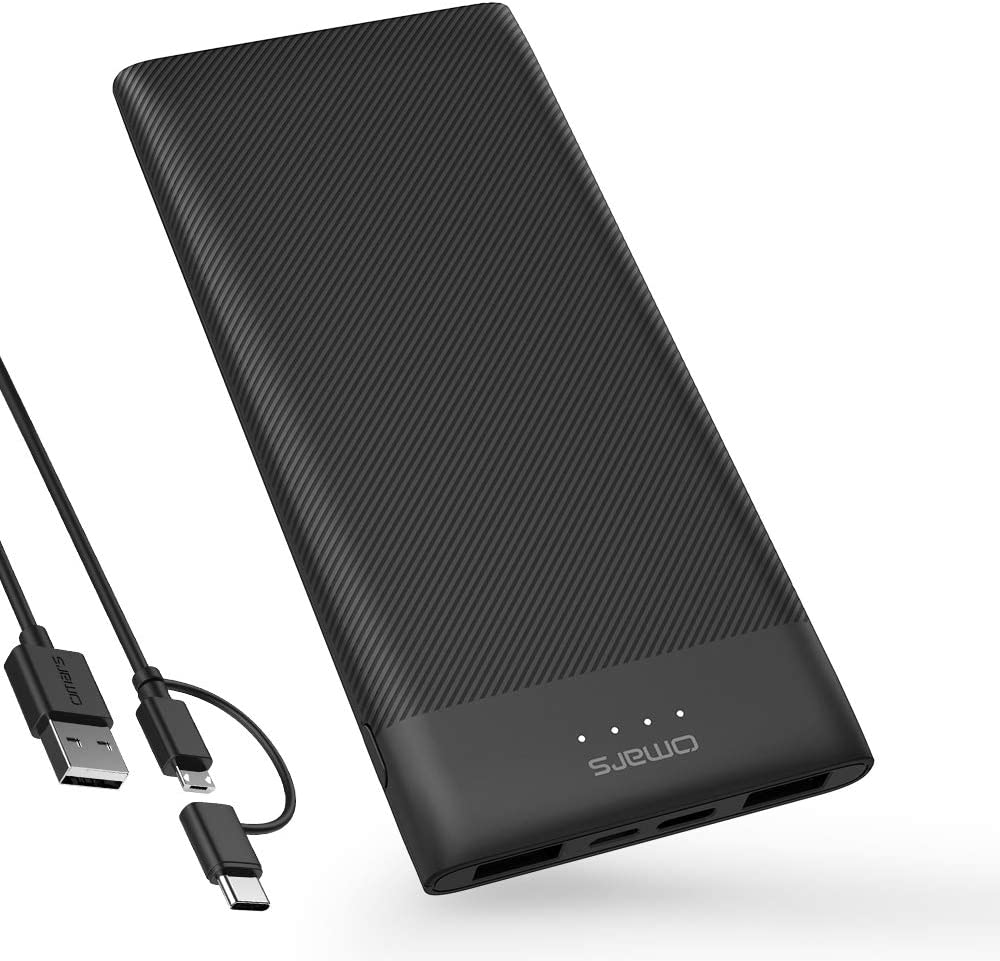 Omars Power Bank 10000mAh Cargador portátil Ultra Delgado Powerbank con USB-C y 2 x USB A Total Triple Salida batería para iPhone X/8/8Plus, iPad, Samsung Galaxy S9/Note 8, y más Smartrtphone y