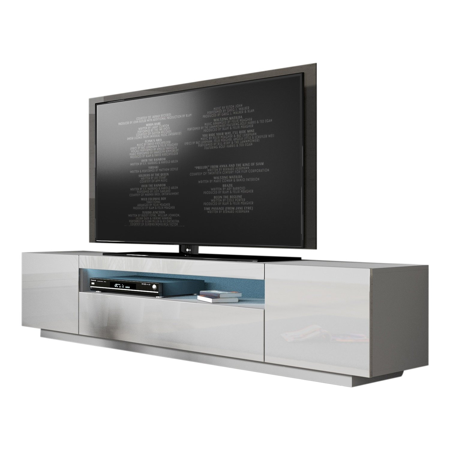 MEBLE FURNITURE & RUGS Miami 200 Modern 90'' TV Stand High Gloss Front, 16 Colors LED (White) by MEBLE FURNITURE & RUGS