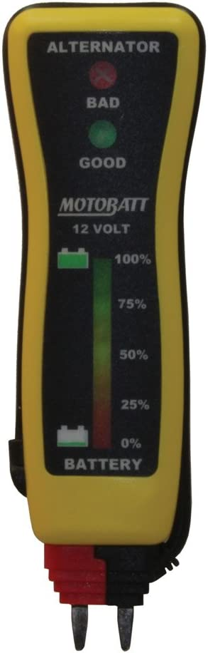 MotoBatt 12V Battery and Charging System Pocket Voltmeter Tester