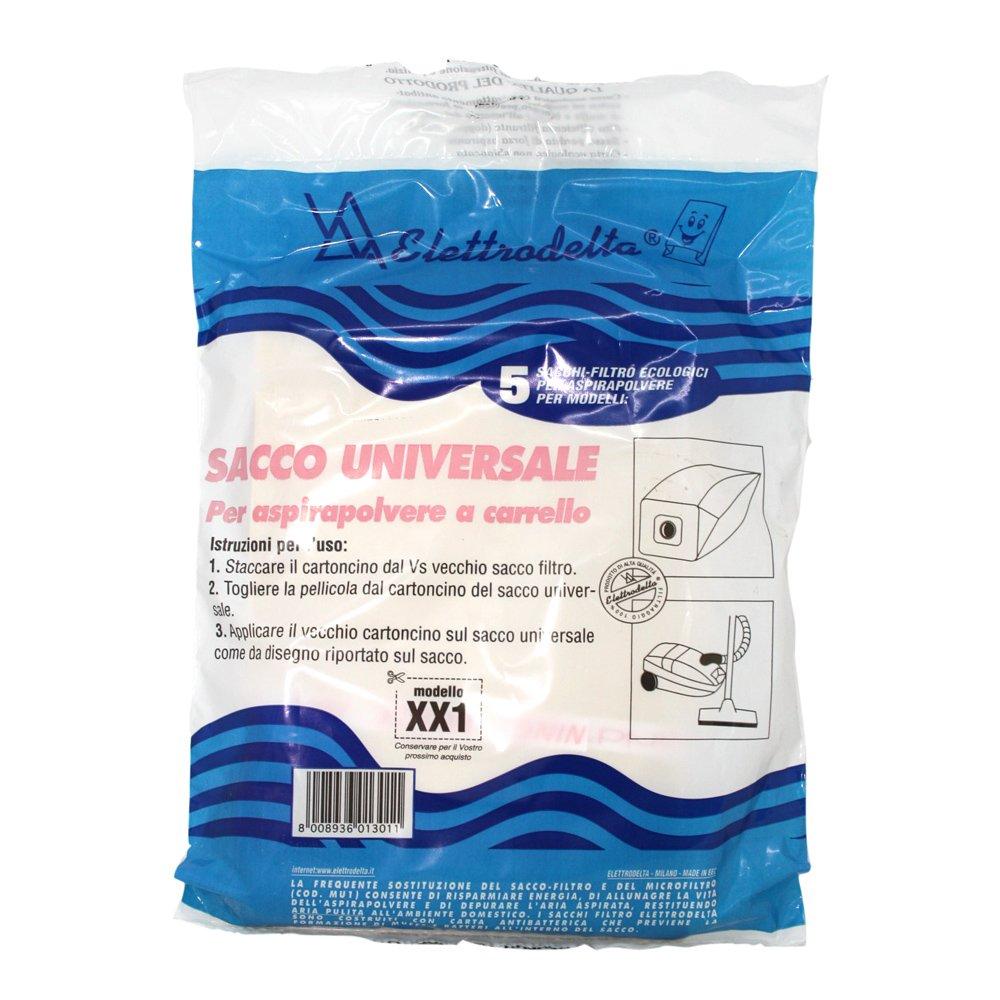 XX 1 - Confezione nuova da 5 sacchi filtro universali per tutti gli aspirapolvere a carrello o a traino. T.S.I. Srl