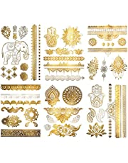 Terra Tattoos Metallic Henna Temporary Tattoos - 75 Gold Temp Tattoos