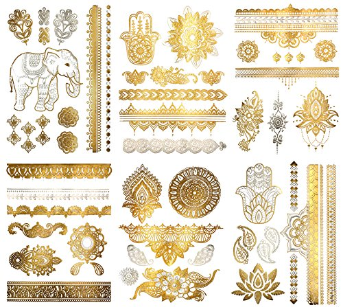 Metallic Henna Mandala Temporary Tattoos - Over 75 Designs (6 Sheets) Fake Shimmer Jewelry Inspired Mehndi Gold and Silver Terra Tattoos Maya Collection ()