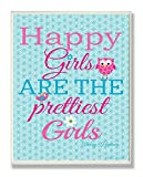 The Kids Room by Stupell Happy Girls Are The Prettiest Girls With Owl And Bird Rectangle Wall Plaque, 11 x 0.5 x 15, Proudly Made in USA