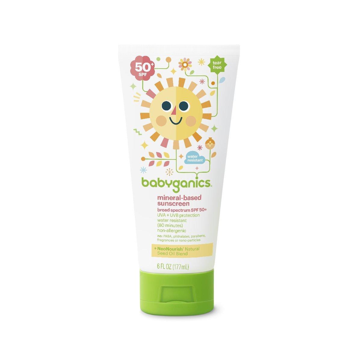 Babyganics Mineral-Based Baby Sunscreen Lotion, SPF 50, 6oz Tube (Pack of 2) Bab-3782 Baby bath products baby bubble bath Baby Ganics