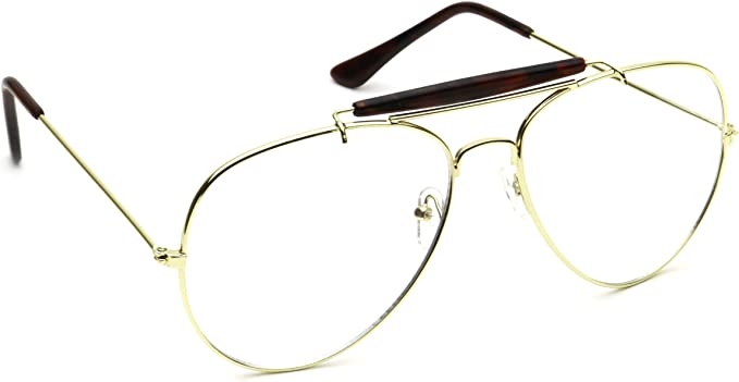 Retro Vintage Style Metal Aviator Clear Lens Glasses