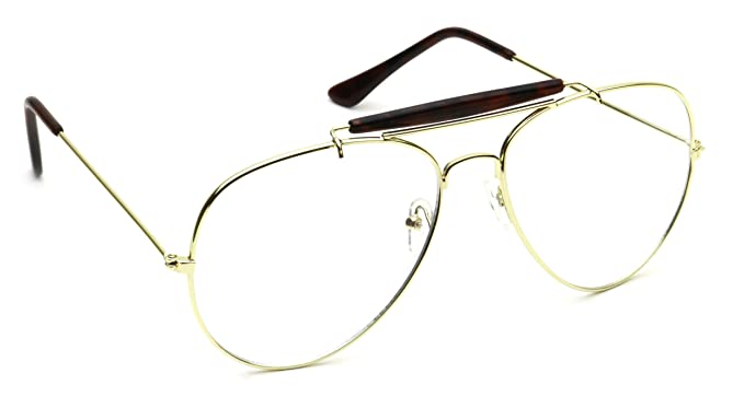 b674411fdd Retro Aviator Clear Lens Eyeglasses Super Vintage Classic Nickel Metal Frame  (Gold Square