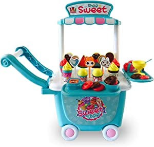 Ice Cream Cart Play Set, (45 pcs) Pretend Food Play Set for Kids Activity & Early Development Education
