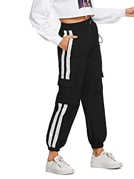 great deals on fashion buy real luxury fashion Romwe Women's Workout Jogger Pants High Waist Lightweight Hiking Outdoor  Cargo Sweatpants