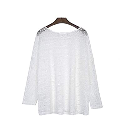 Womens Plus Size Sweaters, Long Sleeve Crew Neck Knitted White Pullover Top at Women's Clothing store