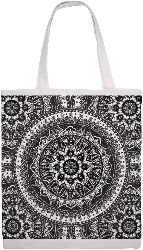 Bolsa de lona de algodón, diseño de mandala en blanco y negro: Amazon.es: Hogar