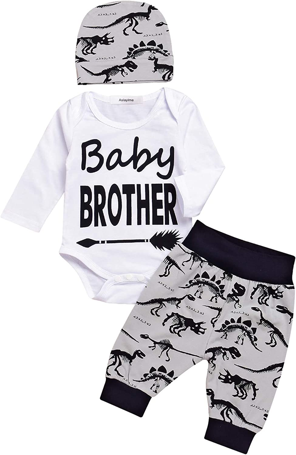 Baby Boy Outfit Set Baby Brother Dinosaur Tops Pant Romper