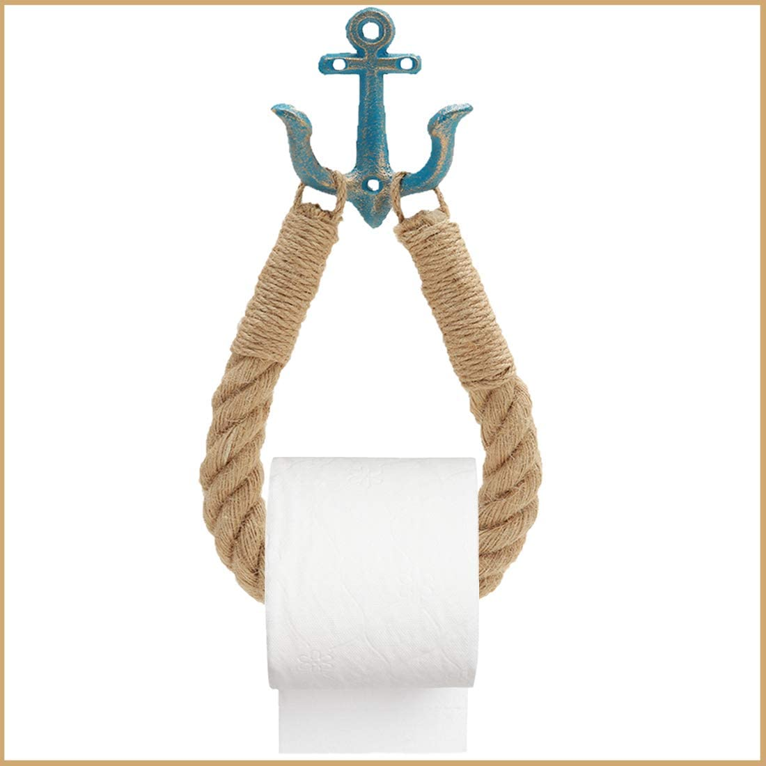 CAYOREPO Nautical Toilet Paper Holder,Rustic-Industrial Wall-Mounted Nautical Toilet Paper Towel Ring with Metal Hook for Bathroom Decor (Blue)