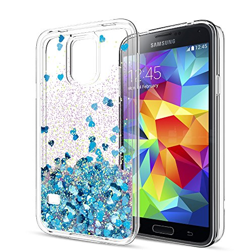 S5 Case,Galaxy S5 Case with HD Screen Protector for Girls Women,LeYi Cute Bling Shiny Glitter Moving Quicksand Liquid Clear TPU Protective Phone Cover Case for Samsung Galaxy S5 ZX Blue
